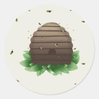 kawaii beehive and beeswarm classic round sticker