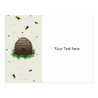 kawaii beehive and beeswarm postcard