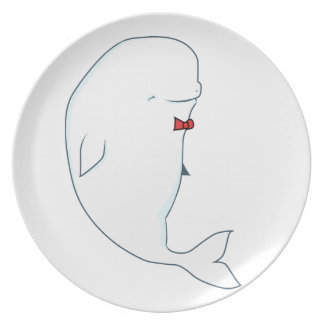 kawaii beluga whale with red bowtie melamine plate