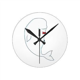 kawaii beluga whale with red bowtie round clock