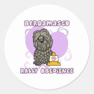 Kawaii Bergamasco Rally Obedience Classic Round Sticker