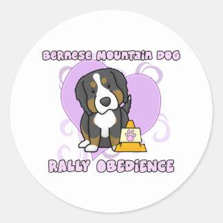 Kawaii Bernese Mountain Dog Rally Obedience Classic Round Sticker
