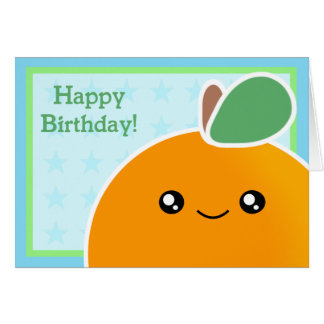 Kawaii Birthday Card Orange Fruit