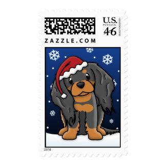 Kawaii Black and Tan Cavalier Spaniel Christmas Stamps