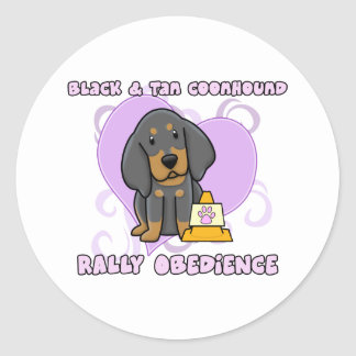Kawaii Black and Tan Coonhound Rally Obedience Classic Round Sticker