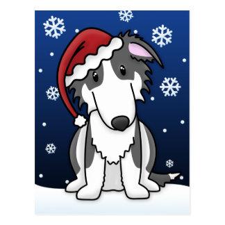 Kawaii Black and White Borzoi Christmas Postcard