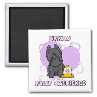 Kawaii Black Briard Rally Obedience 2 Inch Square Magnet
