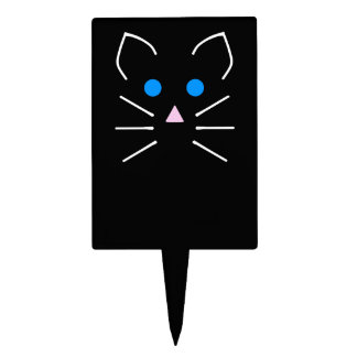 Kawaii Black Cat Kitty Blue Eyes Cartoon Animal Cake Topper