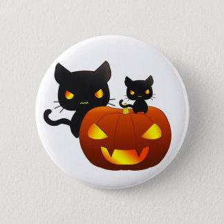 Kawaii black cats and halloween pumpkin pinback button