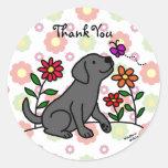 Kawaii Black Labrador Cartoon Floral Stickers