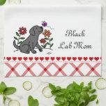 Kawaii Black Labrador Cartoon Hand Towels