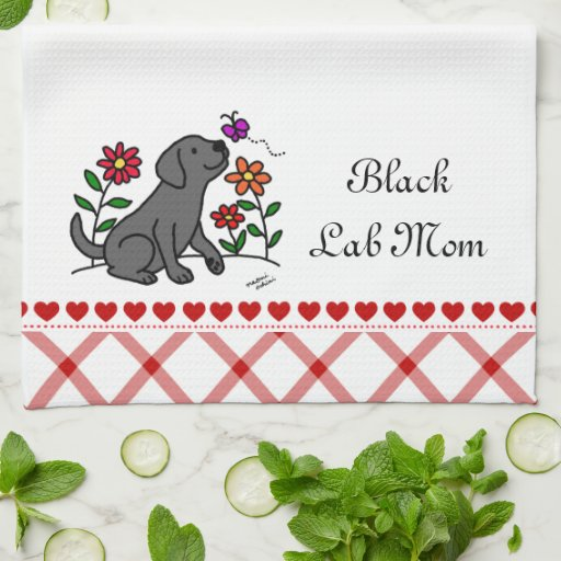 Kawaii Black Labrador Cartoon Kitchen Towel