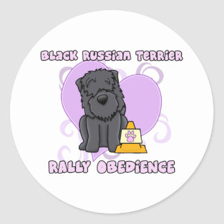 Kawaii Black Russian Terrier Rally Obedience Classic Round Sticker