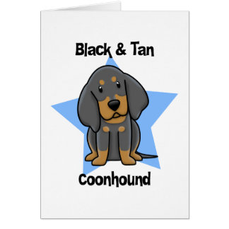 Kawaii Black & Tan Coonhound Card
