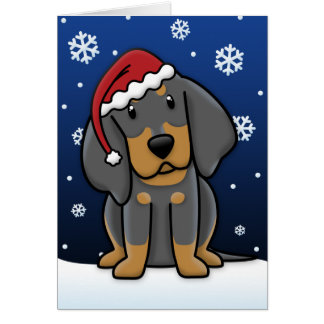 Kawaii Black & Tan Coonhound Christmas Card