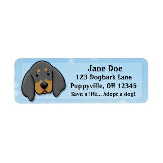 Kawaii Black & Tan Coonhound Custom Return Address Label