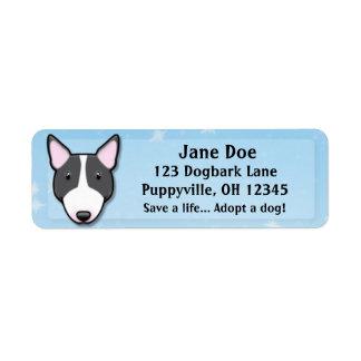 Kawaii Black & White Bull Terrier Return Address Label
