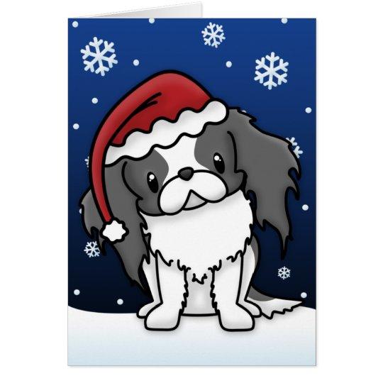 Kawaii Black & White Japanese Chin Christmas Card