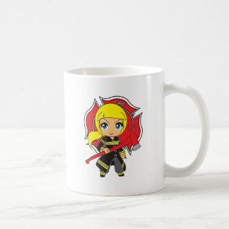Kawaii Blonde Firefighter Girl Coffee Mug