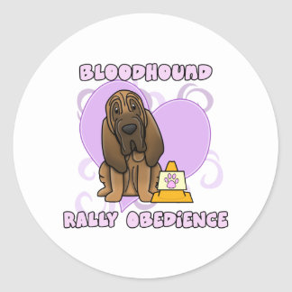 Kawaii Bloodhound Rally Obedience Classic Round Sticker