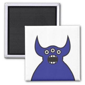 Kawaii Blue Alien Monster Face 2 Inch Square Magnet