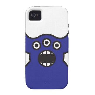 Kawaii Blue Alien Monster Face Case-Mate iPhone 4 Covers