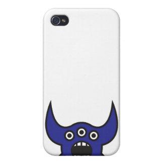 Kawaii Blue Alien Monster Face iPhone 4 Case
