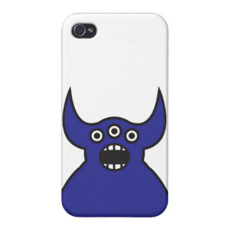 Kawaii Blue Alien Monster Face Cases For iPhone 4