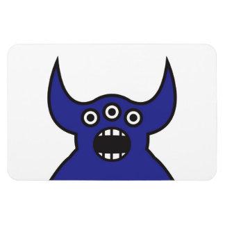 Kawaii Blue Alien Monster Face Rectangular Photo Magnet