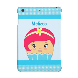 Kawaii Blue and Dark Pink Cute Cupcake Character iPad Mini Retina Cover