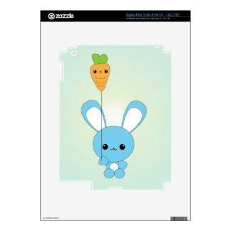 Kawaii Blue Bunny and Carrot Balloon iPad skin