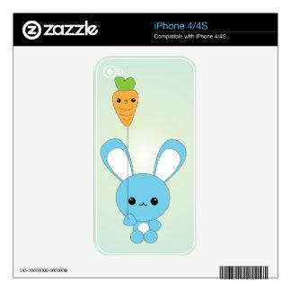 Kawaii Blue Bunny and Carrot Balloon iPhone skin Skin For iPhone 4