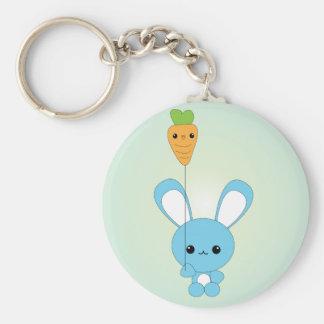 Kawaii Blue Bunny and Carrot Balloon keychain