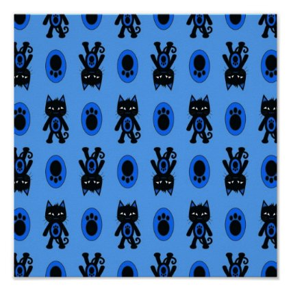 Kawaii Blue Cat and Paw Print Pattern