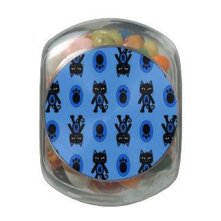 Kawaii Blue Cat and Paw Print Pattern Glass Candy Jars