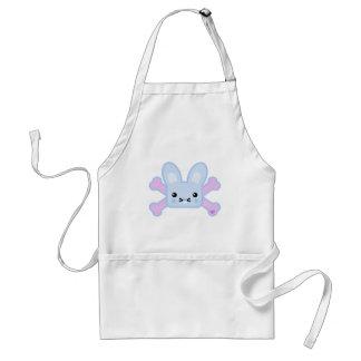 kawaii blue crossbones bunny apron