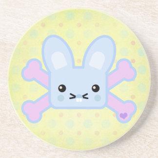 kawaii blue crossbones bunny beverage coasters