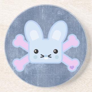 kawaii blue crossbones bunny drink coaster