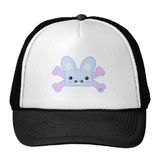 kawaii blue crossbones bunny mesh hats