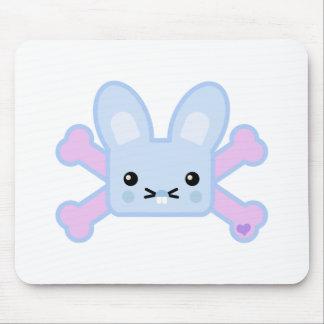 kawaii blue crossbones bunny mouse pads