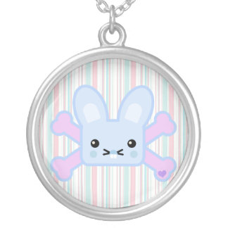 kawaii blue crossbones bunny necklace