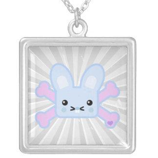 kawaii blue crossbones bunny necklaces