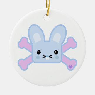 kawaii blue crossbones bunny christmas tree ornament