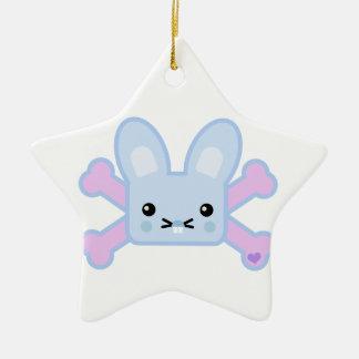 kawaii blue crossbones bunny ornament