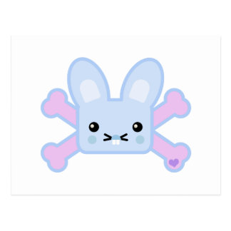 kawaii blue crossbones bunny postcard