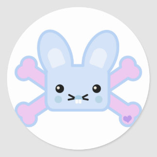 kawaii blue crossbones bunny stickers