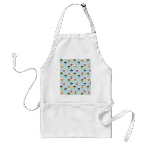Kawaii blue cupcake pattern print. adult apron