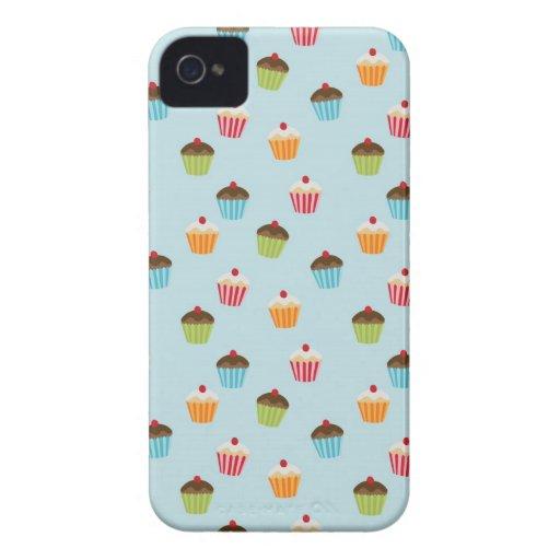 Kawaii blue cupcake pattern print iPhone 4S case iPhone 4 Cases