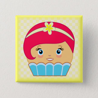 Kawaii Blue Cute Couture Cupcake Character Buttons