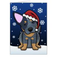 Kawaii Blue Heeler Christmas Card